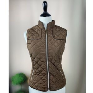 LEE HANTON QUILTED VEST WITH LEOPARD PRINT LINING